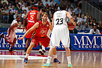 Real Madrid´s Sergio Llull (R) and CAI Zaragoza´s Stefansson during 2013-14 Liga Endesa basketball match at Palacio de los Deportes stadium in Madrid, Spain. May 30, 2014. (ALTERPHOTOS/Victor Blanco)