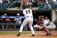 Josh Stowers (25) of the Louisville Cardinals at bat against the Florida State Seminoles in Game Eleven of the 2017 ACC Baseball Championship at Louisville Slugger Field on May 26, 2017 in Louisville, Kentucky. The Seminoles defeated the Cardinals 6-2. (Brian Westerholt/Four Seam Images)