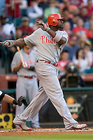 Philadelphia Phillies 1B Ryan Howard against the Houston Astros on Turn Back the Clock Nite. Game played on Saturday April 10th, 2010 at Minute Maid Park in Houston, Texas.  (Photo by Andrew Woolley / Four Seam Images)