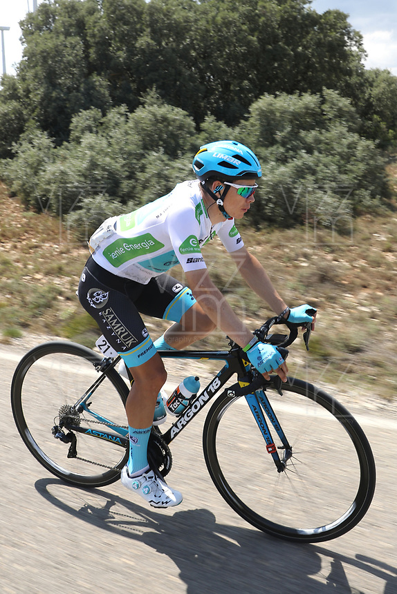 ESPAÑA, 28-08-2019: Miguel Angel lopez (COL - ASTANA) durante la etapa 5, hoy, 28 de agosto de 2019, que se corrió entre L' Eliana y el Observatorio Astrofísico de Javalambre con una distancia de 170,7 km como parte de La Vuelta a España 2019 que se disputa entre el 24/08 y el 15/09/2019 en territorio Español. / Miguel Angel lopez (COL - ASTANA) during stage 5 today, August 28, 2019, from L'Eliana to Javalambre Astrophysical Observatory with a distance of 170,7 km as part of Tour of Spain 2019 which takes place between 08/24 and 09/15/2019 in Spain.  Photo: VizzorImage / Luis Angel Gomez / ASO<br /> VizzorImage PROVIDES THE ACCESS TO THIS PHOTOGRAPH ONLY AS A PRESS AND EDITORIAL SERVICE AND NOT IS THE OWNER OF COPYRIGHT; ANOTHER USE HAVE ADDITIONAL PERMITS AND IS  REPONSABILITY OF THE END USER