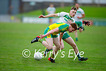 Jack Cremin of Gneeveguilla under pressure from Mike Gogarty of Ballydonoghue in the 2020 County Junior Premier football final