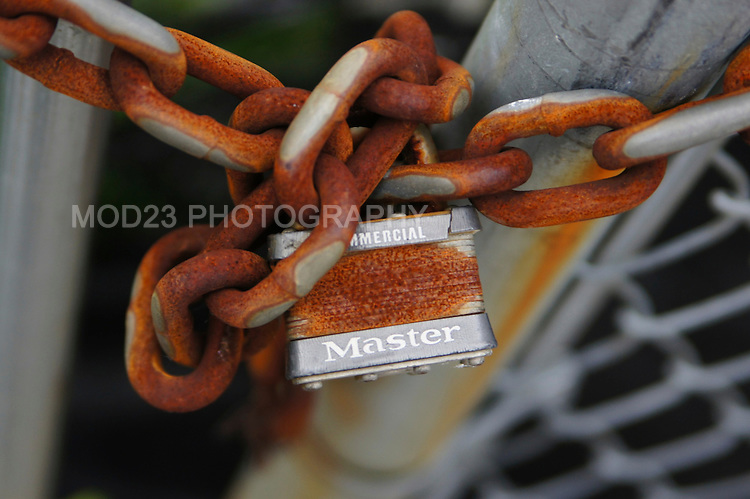 LIC, NYC waterfront.  Image of rusted chain and Master Lock.