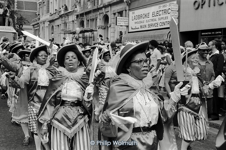 Notting Hill Carnival 1981:   the Dominica Carnival and Arts Group in Ladbroke Grove.