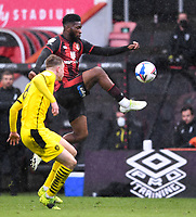 13th March 2021; Vitality Stadium, Bournemouth, Dorset, England; English Football League Championship Football, Bournemouth Athletic versus Barnsley; Jefferson Lerma of Bournemouth controls the ball under pressure from Mads Juel Andersen of Barnsley