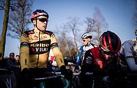 Wout van Aert (BEL/Jumbo - Visma) at the race start in his first race back after his severe crash in the 2019 Tour de France.<br /> <br /> Azencross Loenhout 2019 (BEL)<br />  <br /> ©kramon