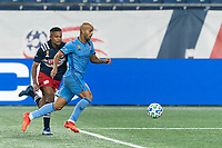 FOXBOROUGH, MA - SEPTEMBER 02: Heber #9 of New York City FC on the attack as Michael Mancienne #13 of New England Revolution during a game between New York City FC and New England Revolution at Gillette Stadium on September 02, 2020 in Foxborough, Massachusetts.
