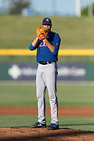 AZL Rangers starting pitcher Billy Layne Jr. (28) gets ready to deliver a pitch during an Arizona League playoff game against the AZL Cubs 1 at Sloan Park on August 29, 2018 in Mesa, Arizona. The AZL Cubs 1 defeated the AZL Rangers 8-7. (Zachary Lucy/Four Seam Images)