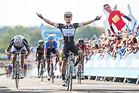 Picture by Simon Wilkinson/SWpix.com - 10/09/2014 - Cycling - 2014 Friends Life Tour of Britain - Stage 4, Worcester to Bristol - Omega Pharma-Quick Step's Michal Kwiatkowski celebrates winning Stage 4 in Bristol.