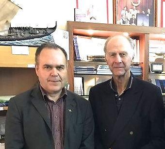 Kevin Kenny (left) with explorer Ranulp Fiennes in Athy, Co Kildare