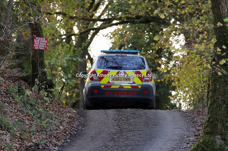"""Pictured: A fire service vehicle arrives at the property in Llangammarch Wells, mid Wales, UK<br /> Re: People are feared to have died in a serious house fire in Powys, Wales.<br /> Four fire crews were called to the property near Llangammarch Wells, between Llanwrtyd Wells and Builth Wells, just after midnight on Monday.<br /> Mid and West Wales Fire and Rescue Service said the blaze was """"well developed"""" when firefighters arrived at the scene.<br /> It is not known how many people may have been inside the house at the time of the blaze.<br /> A Welsh Ambulance Service spokesman said it sent its Hazardous Area Response Team, as well as four crews in emergency ambulances and an ambulance officer to the scene."""