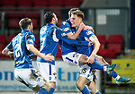 St Johnstone v Motherwell…..12.02.20   McDiarmid Park   SPFL<br />Chris Kane celebrates his goal with Jason Kerr, Drey Wright and Anthony Ralston<br />Picture by Graeme Hart.<br />Copyright Perthshire Picture Agency<br />Tel: 01738 623350  Mobile: 07990 594431