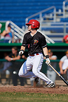 Batavia Muckdogs second baseman Luke Jarvis (8) hits a single during a game against the West Virginia Black Bears on July 1, 2018 at Dwyer Stadium in Batavia, New York.  Batavia defeated West Virginia 8-4.  (Mike Janes/Four Seam Images)