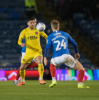 Fleetwood Town's Danny Andrew (left) vies for possession with Portsmouth's Cameron McGeehan (right) <br /> <br /> Photographer David Horton/CameraSport<br /> <br /> The EFL Sky Bet League One - Portsmouth v Fleetwood Town - Tuesday 10th March 2020 - Fratton Park - Portsmouth<br /> <br /> World Copyright © 2020 CameraSport. All rights reserved. 43 Linden Ave. Countesthorpe. Leicester. England. LE8 5PG - Tel: +44 (0) 116 277 4147 - admin@camerasport.com - www.camerasport.com