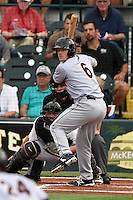 Jupiter Hammerheads catcher Chadd Krist (6) at bat in front of umpire Joe George and catcher Jin-De Jhang (47) during a game against the Bradenton Marauders on April 17, 2015 at McKechnie Field in Bradenton, Florida.  Bradenton defeated Jupiter 11-6.  (Mike Janes/Four Seam Images)