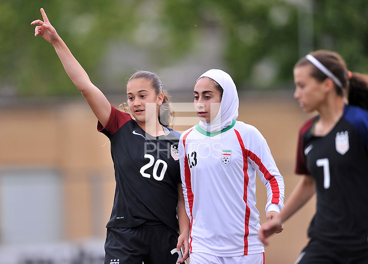 Monfalcone, Italy, April 26, 2016.<br /> USA's #20 Yates reacts after scoring the goal of 3-0 during USA v Iran football match at Gradisca Tournament of Nations (women's tournament). Monfalcone's stadium.<br /> © ph Simone Ferraro / Isiphotos