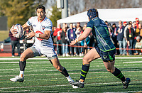 WASHINGTON, DC - FEBRUARY 16: Dylan Taikato-Simpson #15 of Old Glory DC moves away from Riekert Hattingh #8 of the Seattle Seawolves during a game between Seattle Seawolves and Old Glory DC at Cardinal Stadium on February 16, 2020 in Washington, DC.