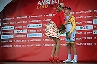 podiumsteps missing for 3rd placed Simon Gerrans (AUS/Orica-GreenEDGE)<br /> <br /> Amstel Gold Race 2014