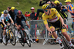 Yellow Jersey Tadej Pogacar (SLO) UAE Team Emirates leads Richard Carapaz (ECU) Ineos Grenadiers and Jonas Vingegaard (DEN) Jumbo-Visma up the final climb of Luz-Ardiden during Stage 18 of the 2021 Tour de France, running 129.7km from Pau to Luz-Ardiden, France. 15th July 2021.  <br /> Picture: Colin Flockton   Cyclefile<br /> <br /> All photos usage must carry mandatory copyright credit (© Cyclefile   Colin Flockton)