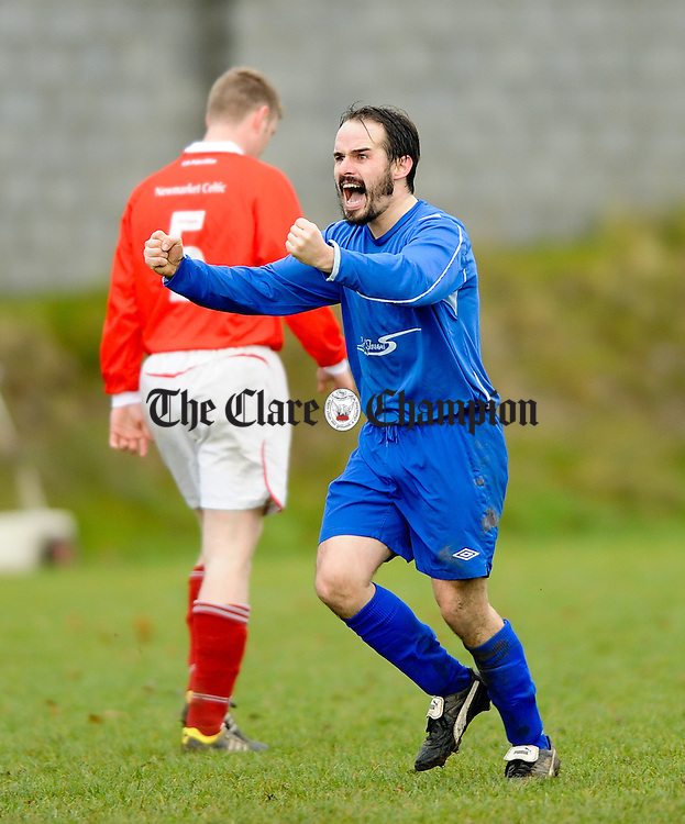 Daryl Eade of Ennis Town celebrates a team mates goal against Newmarket Celtic during their game in Newmarket. Photograph by John Kelly.