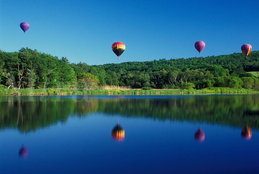 hot air balloon, Vermont, VT, Quechee, Hot air balloons fly above the water at the Quechee Hot Air Balloon Festival.