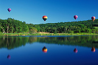 hot air balloon, Vermont, VT, Quechee, Hot air balloons fly above the water at the Quechee Hot Air Balloon Festival.