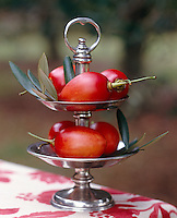 A two-tier pewter stand makes a simple seasonal display