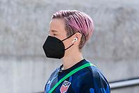 ORLANDO, FL - FEBRUARY 21: Megan Rapinoe #15 of the USWNT walks into the stadium before a game between Brazil and USWNT at Exploria Stadium on February 21, 2021 in Orlando, Florida.