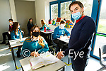 Mercy Mounthawk leaving cert student Michaoina Gora in class with teacher Patrick Lyne on her return to school on Monday