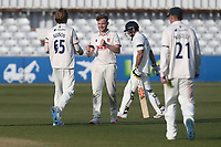 Sam Cook of Essex celebrates with his team mates after taking the wicket of David Bedingham during Essex CCC vs Durham CCC, LV Insurance County Championship Group 1 Cricket at The Cloudfm County Ground on 17th April 2021