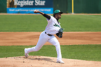 Beloit Snappers starting pitcher George Soriano (18) delivers a pitch during a game against the Quad Cities River Bandits on July 18, 2021 at Pohlman Field in Beloit, Wisconsin.  (Brad Krause/Four Seam Images)