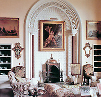 Arbury Hall: Salon. Gothic style. Newdigate Family. Warwickshire, England.