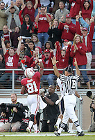 STANFORD, CA - November 6, 2010: Chris Owusu celebrates with the crowd after a 45 yard touchdown reception during a 42-17 Stanford win over the University of Arizona, in Stanford, California.