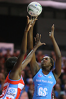 Steel's Jhaniele Fowler attempts a shot at goal in the ANZ netball championship match, Stadium Southland Velodrome, Invercargill, New Zealand, Monday, May 06, 2013. Credit:NINZ/Dianne Manson