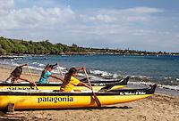 Club members practice in an outrigger canoe at Hanakao'o Beach Park (or Canoe Beach), Lahaina, Maui.