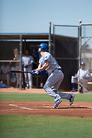 AZL Royals center fielder Bubba Starling (7) follows through on his swing during a rehab assignment in an Arizona League game against the AZL Padres 1 at Peoria Sports Complex on July 4, 2018 in Peoria, Arizona. The AZL Royals defeated the AZL Padres 1 5-4. (Zachary Lucy/Four Seam Images)