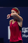Kristina Mladenovic of France reacts during the singles Round Robin match of the WTA Elite Trophy Zhuhai 2017 against Magdalena Rybarikova of Slovakia at Hengqin Tennis Center on November  01, 2017 in Zhuhai, China.Photo by Yu Chun Christopher Wong / Power Sport Images