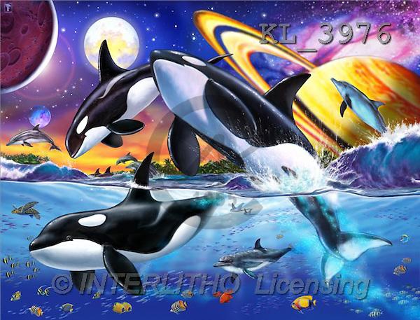 Interlitho, Lorenzo, FANTASY, paintings, orcas, planets, KL, KL3976,#fantasy# illustrations, pinturas