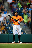 Richmond Flying Squirrels third baseman Ali Castillo (19) at bat during a game against the Trenton Thunder on May 11, 2018 at The Diamond in Richmond, Virginia.  Richmond defeated Trenton 6-1.  (Mike Janes/Four Seam Images)