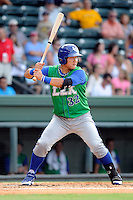 Catcher Jin-Ho Shin (32) of the Lexington Legends in a game against the Greenville Drive on Monday, July 22, 2013, at Fluor Field at the West End in Greenville, South Carolina. Lexington won, 7-3. (Tom Priddy/Four Seam Images)