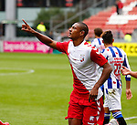 Nederland, Utrecht, 16 augustus 2015<br /> Eredivisie<br /> Seizoen 2015-2016<br /> FC Utrecht-SC Heerenveen<br /> Sebastien Haller van FC Utrecht juicht, nadat hij een strafschop heeft benut, 1-0.