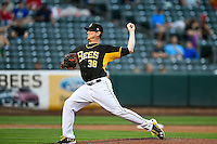 Chris O'Grady (38) of the Salt Lake Bees delivers a pitch to the plate against the Tacoma Rainiers in Pacific Coast League action at Smith's Ballpark on June 14, 2016 in Salt Lake City, Utah. The Bees defeated the Rainiers 9-4.  (Stephen Smith/Four Seam Images)