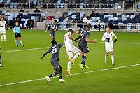 ST PAUL, MN - OCTOBER 28: Brent Kallman #14 of Minnesota United FC heads the ball out of the box during a game between Colorado Rapids and Minnesota United FC at Allianz Field on October 28, 2020 in St Paul, Minnesota.