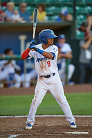 Jeremy Arocho (8) of the Ogden Raptors bats against the Grand Junction Rockies at Lindquist Field on June 25, 2018 in Ogden, Utah. The Raptors defeated the Rockies 5-3. (Stephen Smith/Four Seam Images)