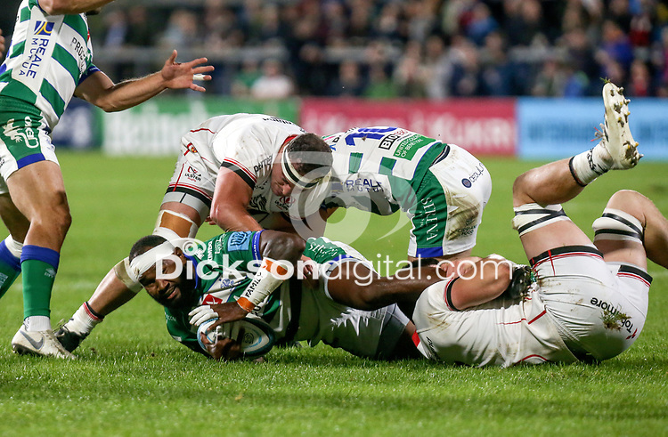 Friday 8th October 2021<br /> <br /> Rob Herring and Nick Timoney tackle Ratuva Tavuyara during the URC Round 3 clash between Ulster Rugby and Benetton Rugby at Kingspan Stadium, Ravenhill Park, Belfast, Northern Ireland. Photo by John Dickson/Dicksondigital