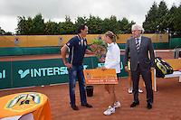 2013-08-17, Netherlands, Raalte,  TV Ramele, Tennis, NRTK 2013, National Ranking Tennis Champ,  Danielle Harmsen receives the winners check from Floor Jonkers KNLTB<br /> <br /> Photo: Henk Koster