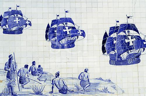Porto Seguro, Brazil. Tiles depicting the arrival of the first Portuguese ships in Brazil; Bahia State.