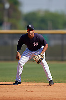 New York Yankees Dermis Garcia (32) during a Minor League Spring Training game against the Philadelphia Phillies on March 23, 2019 at the New York Yankees Minor League Complex in Tampa, Florida.  (Mike Janes/Four Seam Images)