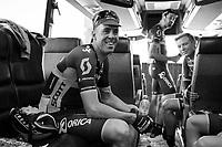 Defending Champion Mathew Haymen (AUS/Orica-Scott) relaxed on the teambus pre-race<br /> <br /> 115th Paris-Roubaix 2017 (1.UWT)<br /> One Day Race: Compiègne › Roubaix (257km)