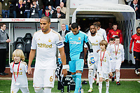 Sunday, 23 November 2012<br /> <br /> Pictured: Ashley Williams of Swansea City leads the team out of the tunnel <br /> <br /> Re: Barclays Premier League, Swansea City FC v Manchester United at the Liberty Stadium, south Wales.