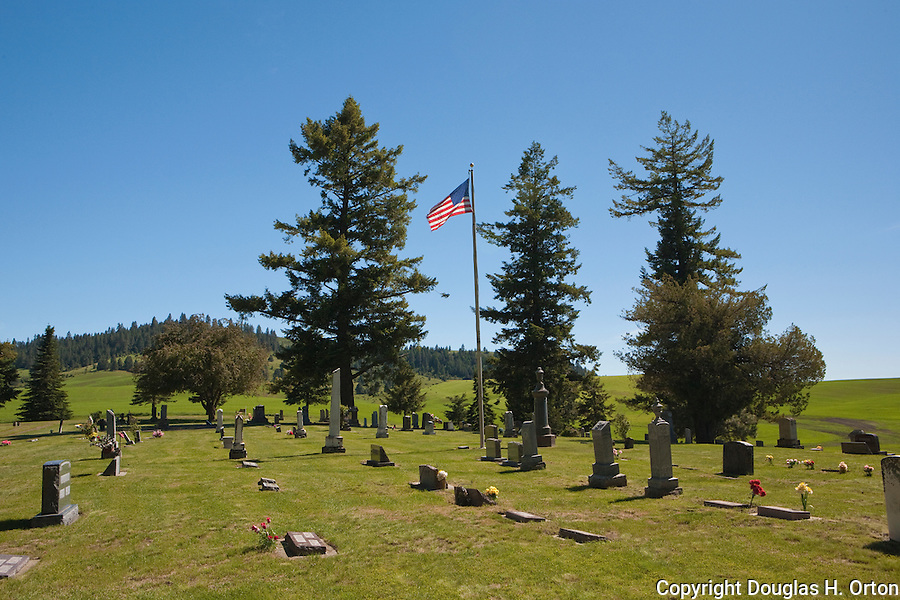 Farmington Cemetary lies beneath Skyline Drive in Mary Minerva McCroskey State Park.  Small, historic Farmington lies in the core of the Palouse.